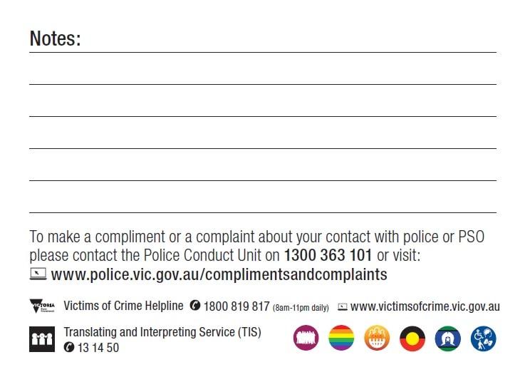 Victoria Police contact card